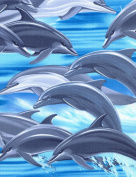 Cotton Dolphins Dolphin Fish Water Jump Swimming Cotton Fabric Print by the yard