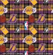 NBA Los Angeles Lakers Plaid Basketball Sports Team Fleece Fabric Print by the yard