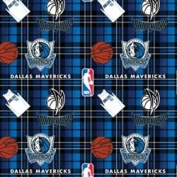 NBA Dallas Mavericks Plaid Basketball Sports Team Fleece Fabric Print by the yard
