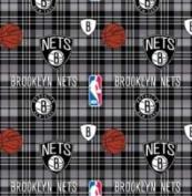 NBA Brooklyn Nets Plaid Basketball Sports Team Fleece Fabric Print by the yard