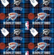NBA Oklahoma City Thunder Plaid Basketball Sports Team Fleece Fabric Print by the yard