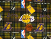 150cm Wide Fleece Fabric Los Angeles Lakers Plaid Fabric Sold By The yard