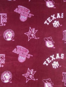 Texas A & M University By Sykel - Allover - 100% Polyester Fleece 150cm Wide By the Yard