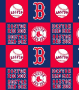 MLB Boston Red Sox Block Baseball Fleece Fabric Print By the Yard