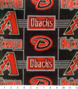 MLB Arizona Diamondbacks Baseball Fleece Fabric Print By the Yard