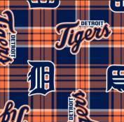 MLB Detroit Tigers Plaid Baseball Sports Team Fleece Fabric Print by the Yard