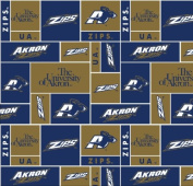 University of Akron Super Soft Collegiate Classic Fleece Geometric-AKRON fleece fabric