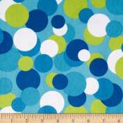 Minky Candy Circles Blue/Lime Blue Fabric