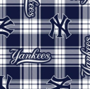 MLB New York Yankees Plaid Baseball Sports Team Fleece Fabric Print by the Yard