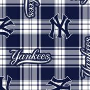 MLB New York Yankees Plaid Baseball Sports Team Fleece Fabric Print by the Yard