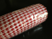 Basket Weave Deco Poly Mesh Roll Red & White from DECO MESH DESIGN 50cm X 10 yards