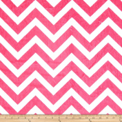 Minky Chevron Cuddle Fuchsia/Snow Fabric