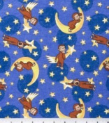Adorable CURIOUS GEORGE SLEEPING ON THE MOON Flannel Fabric (Great for QUILTING, SEWING, CRAFT PROJECTS, THROW PILLOWS & More) 1 Yard