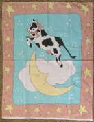 MOTHER GOOSE Nursery Rhyme COW JUMPED OVER THE MOON Fabric Panel (Great For Quilting, Throws, Sewing, Craft Projects, Wall Hangings, and More) 90cm x 110cm