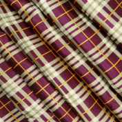 Plum Beige Polyester Satin Fabric Cheque Pattern Drape Dress Kimono Sewing Craft Fabric 1 Yard