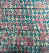 Beige Polyester Satin Fabric Floral Print Drape Dress Kimono Sewing Craft Fabric 1 Yard