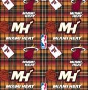 NBA Miami Heat Plaid Basketball Sports Team Fleece Fabric Print by the yard