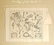 Cotton Linen Fabric Cloth DIY Cloth Art Manual Cloth Map World