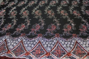 Silver on Black- Elegant Paisley Design Embroidery Lace with Double Side Border and Sequins on Mesh