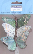 Ashland Pack of 3 MEDIUM Size BUTTERFLIES w Wire BUTTERFLY Approx. 7.6cm - 0.6cm Wide GREEN & OFF WHITE Tones w GLITTER