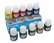 Pebeo Setacolor Transparent Fabric Paint Set, Cardboard Box of 10 Assorted 45-Millilitre Jars
