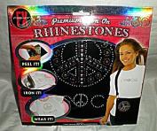 "Premium Iron-On Rhinestones Kit - ""PEACE"" with Large Peace Sign"
