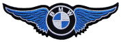 BMW Blue Twin Wing Motorcycles Vintage Biker Racing Car Motorsport Iron on Patches