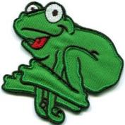 Frog Toad Hippie 70s Retro Fun Animal Amphibian Applique Iron-on Patch
