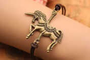 Unicorn Bracelet,retro Bronze Unicorn Pendant Bracelet,brown Leather Bracelet