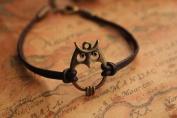 Owl Bracelet,retro Bronze Lovely Owl Pendant Bracelet,brown True Leather Bracelet