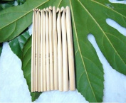 O Start 12 Sizes 6'' (15cm) Crochet Hooks Bamboo Kits Knitting Needles Set