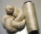 100% Mulberry Queen Silk Yarn 50 Gramme 3 Ply Lace Weight Pearl White Lot C