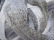 Katia Bossa Nova Shimmer Ruffling Scarf Yarn 1 Sk Col Gris 71 Silver Grey
