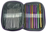 HotEnergy 22pcs Mixed Aluminium Handle Crochet Hook Knitting Knit Needle Weave Yarn Set USA ship
