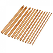Autek 12PCS Handle Bamboo Crochet Hook Knit Knitting Needles