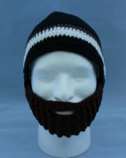 Beard Hat Black and One White/Brown Stripe with Brown Beard High Quality 100% Milk Cotton Hand Crocheted Beanie Hat