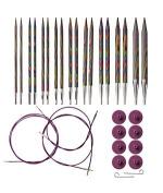 Knit Picks Options Interchangeable Rainbow Wood Circular Knitting Needle Set