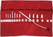 Denise in a della Q Interchangeable Crochet Hook Kit, Roll-style Red