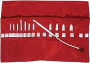 Denise in a della Q Interchangeable Crochet Hook Kit, Roll-style Red
