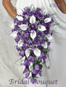 GORGEOUS PURPLE CASCADE Complete Wedding Package Bridal Bridesmaid Groom Corsagesilk flowers