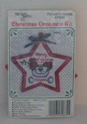 New Berlin Mini Christmas Star Ornament Counted Cross Stitch Kit - Merry Eggsmas 7.6cm x 7.6cm Chicken with Eggs