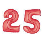 Grabo Giant 25th Red Number Balloons