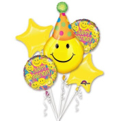 Party Hat Smiley Face Birthday Balloons - Happy Birthday Balloon Bouquet