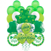 Happy St Patrick's Day Get Your Green On Shamrocks 30pc Ultimate Balloons Pack - Party Decorating