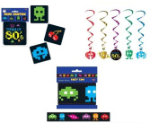 TOTALLY 80's PARTY DECOR/DECORATIONS/Drink COASTERS/Party TAPE/Dangling Whirls/Video Game Theme/EIGHTIES/1980's/SPACE INVADERS