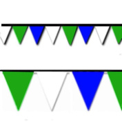 Blue, Green and White Triangle Pennant Flag 100 Ft.