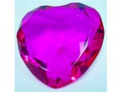 Beautiful Heart Birthstones Paperweight Glass Diamond 80mm Crystal, Hot Pink