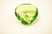 Beautiful Heart Birthstones Paperweight Glass Diamond 80mm Crystal, Light Green