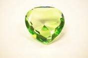 Beautiful Heart Birthstones Paperweight Glass Diamond 80mm Crystal, Light Green