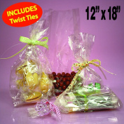 50 Clear Cello/cellophane Bags - Flat 30cm X 46cm - Wedding Favours Party Gift Basket Supplies with Twist Ties